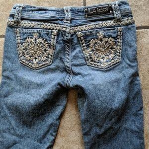 Girls LA Idol bootcut blingy pockets jeans sz 14